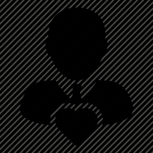 favorite, heart, man, person, user icon