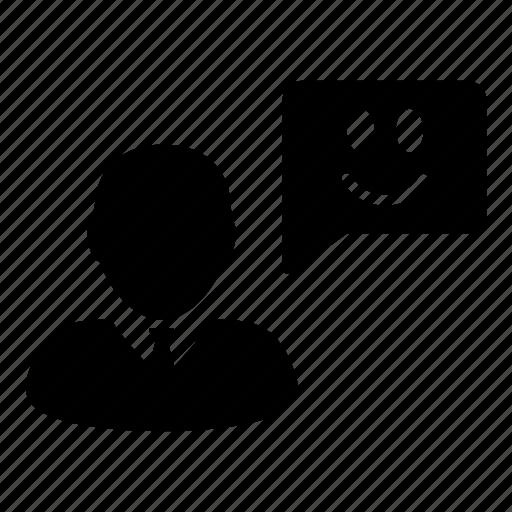 business, customer, happy, message, smile, testimonial icon