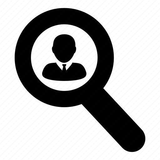 business, find, glass, magnifying, man, search, zoom icon