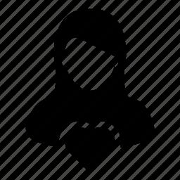 avatar, favorite, heart, user, woman icon