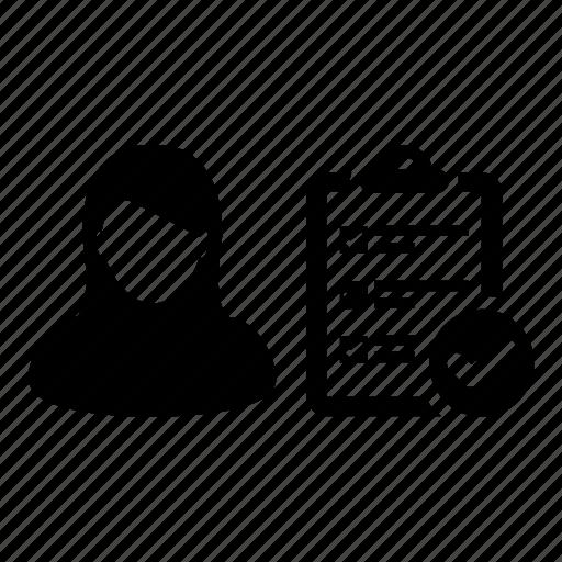 clipboard, list, person, task, tick, todo, woman icon