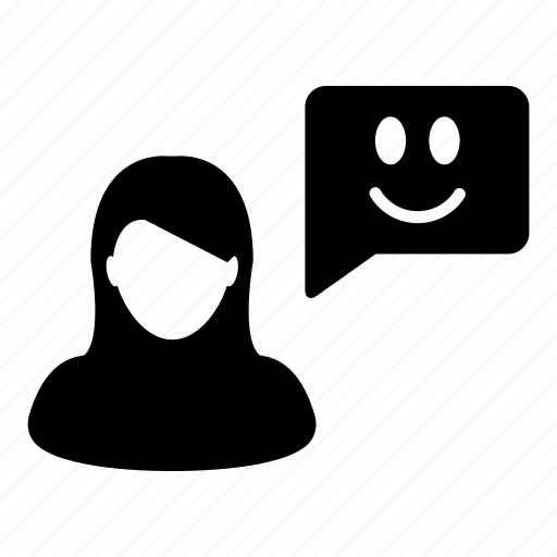 avatar, bubble, customer, happy, smile, speech, woman icon