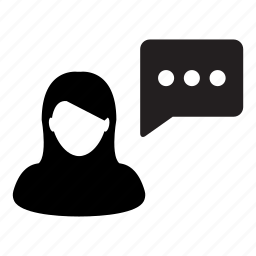 avatar, bubble, chat, message, speech, talk, woman icon
