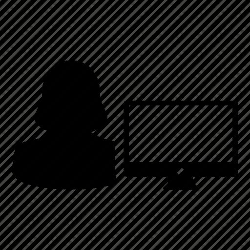 avatar, computer, login, monitor, person, profile, woman icon