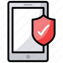 data protection, mobile security, phone protection, technology protection, verified security icon