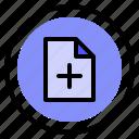 add, file, interface, ui icon