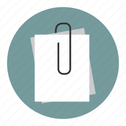 attach, attachment, note, notes, papers icon