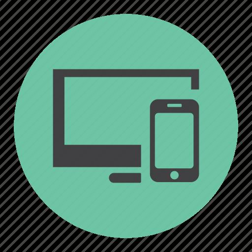 cross, mobile, pc, plaform, screeancast, share icon