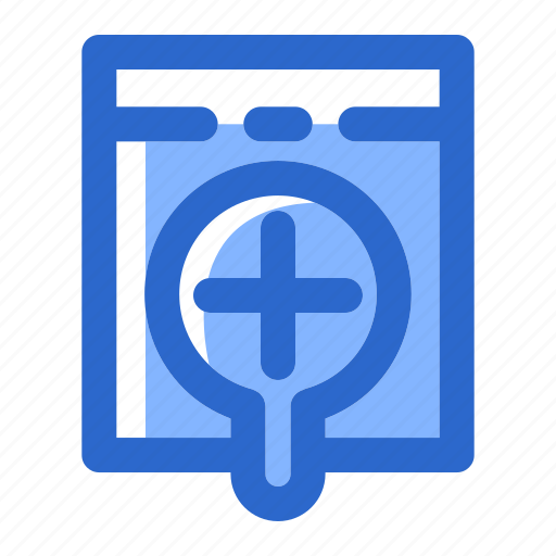 find, glass, look, magnifier, magnifying, search, zoom in icon