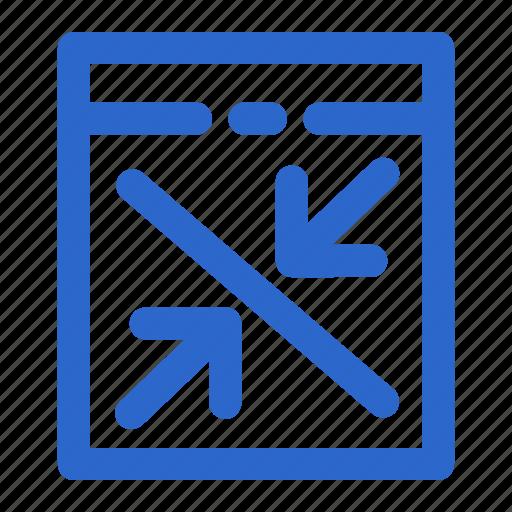 arrow, box, collapse, full screen, minimize, screen, web icon