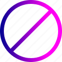 circle, denied, notice, remove, round