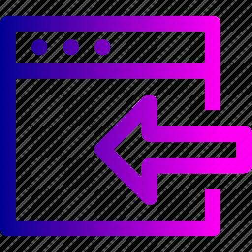 arrow, export, in, left, window icon