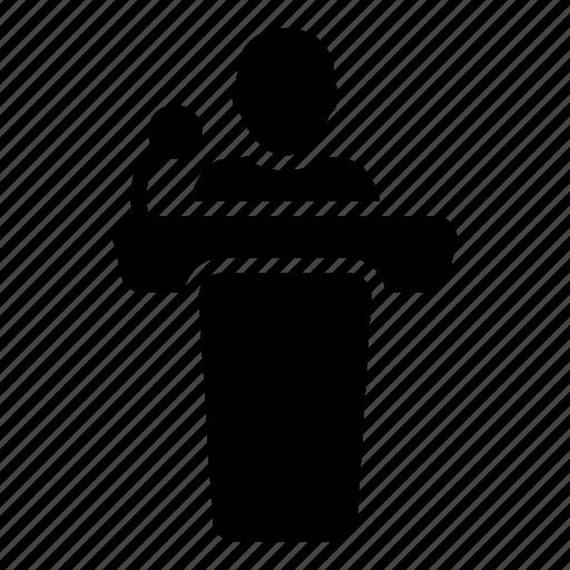 business, person, podium, presentation, public, speaker, speech icon