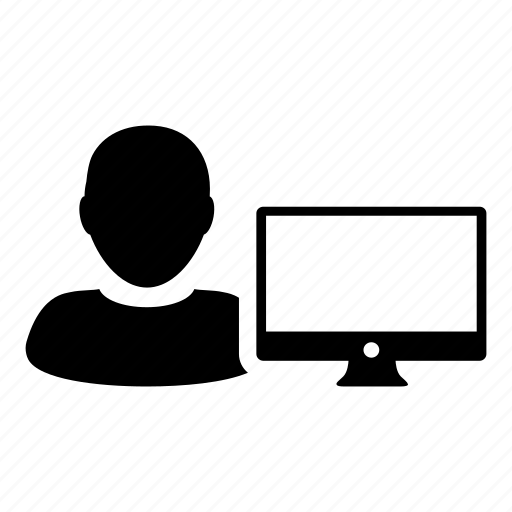 business, computer, man, monitor, profile, user, web icon