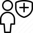 geometric, human, neutral, person, shield, single, user icon