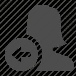 arrow, send, user, woman icon