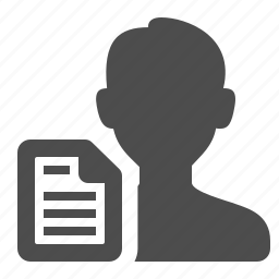 file, letter, male, man, sheet of paper, user icon