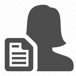 document, female, file, letter, sheet of paper, user, woman icon