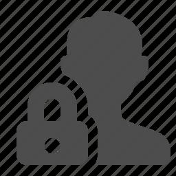 block, lock, locked, male, man, security, user icon