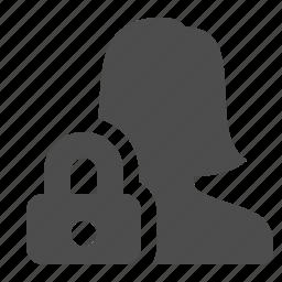 block, female, lock, locked, security, user, woman icon