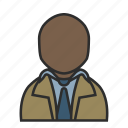 coat, detective, male, shirt, suit, tie, user icon