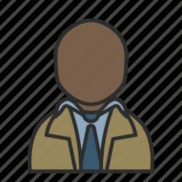 coat, detective, male, shirt, suit, tie, user icon