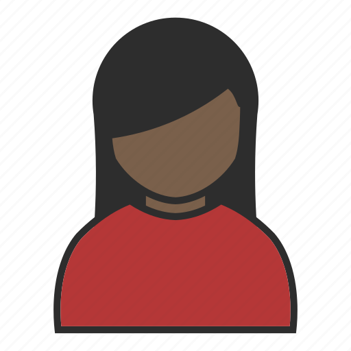 female, girl, human, plain, red, user, woman icon