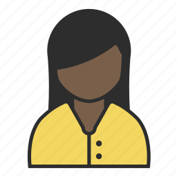avatar, blouse, female, girl, person, user, yellow icon