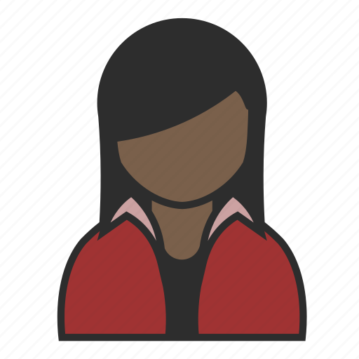 avatar, casual, jacket, profile, red, user, woman icon