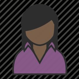 avatar, casual, collar, purple, shirt, user, woman icon
