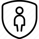 geometric, human, neutral, person, protect, single, user icon