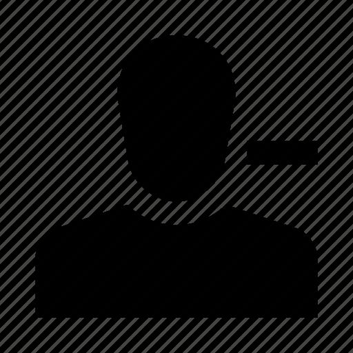 account, delete, human, person, profile, remove, user icon
