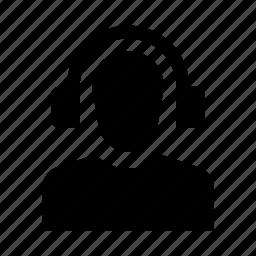 account, avatar, headphones, human, person, profile, user icon