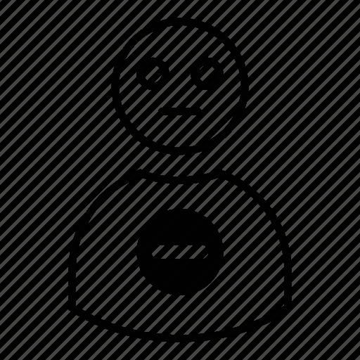 account, avatar, block, delete, human, minus, person, profile, remove, user icon