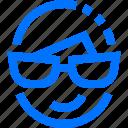 careers, emoji, emoticon, face, smile, sunglasses, users