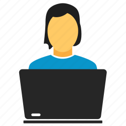 female, girl, labtop, manager, notebook, user, woman, women icon