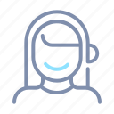 avatar, female, headset, person, profile, user, woman icon