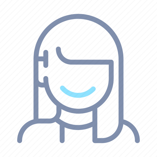 avatar, female, hair, long, profile, user, woman icon