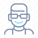 avatar, eyeglasses, male, man, profile, short, user icon