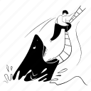 escape, from, danger, shark, ladder, rescue icon
