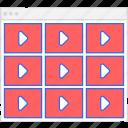 application, flowchart, grid, m, scheme, sitemap, user flow, video, website icon