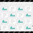 application, flowchart, grid, s, scheme, sitemap, user flow, website icon