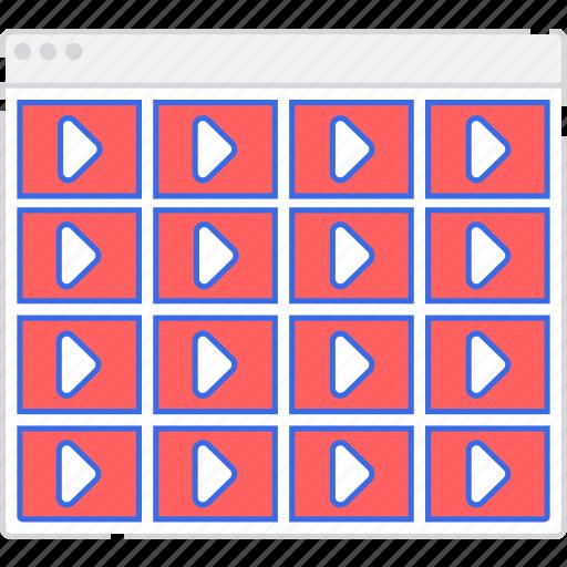 application, flowchart, grid, s, scheme, sitemap, user flow, video, website icon