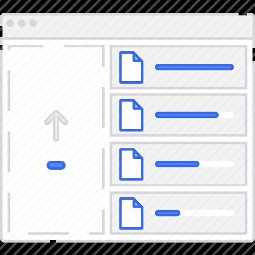 application, file, files, flowchart, scheme, sitemap, upload, user flow, website icon