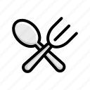 fork, restaurant, spoon, traveling, vacation icon