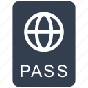 airport, cusotms, document, pass, passport, tourism, travel, vacation icon