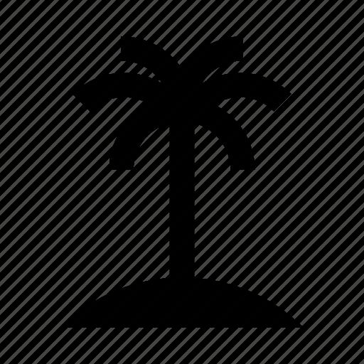 Desert Island Beach: Beach, Desert, Island, Oasis, Palm, Sand, Tree Icon
