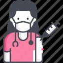 doctor, female, vaccination, vaccine, injection, coronavirus, avatar