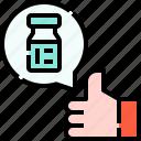 thumbs, up, hand, vaccine, drug, medicine, rating