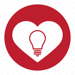 bulb, heart, idea, lamp, like, love, valentine icon